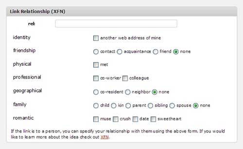 WordPress XFN