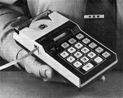 The first hand-held calculator, invented by Jack Kilby at Texas Instruments